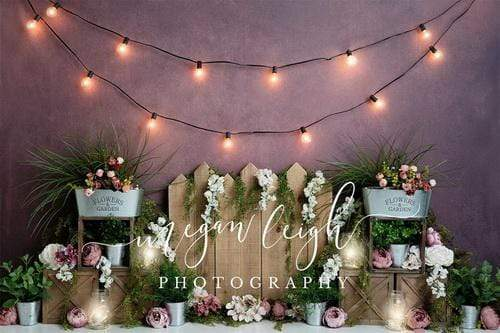 Kate Floral Garden with Lights Backdrop Designed By Megan Leigh Photography