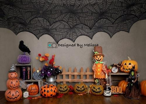 Kate Halloween Pumpkins Backdrop for Photography Designed by Melissa King