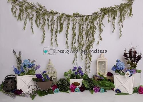 Kate Purple and Blue Garden Backdrop Designed by Melissa King