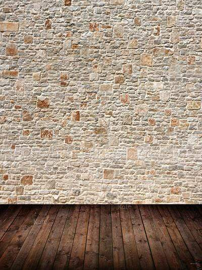 Katebackdrop:Kate White Gray Brick Wall With Dark Woodeen Floor Backdrop