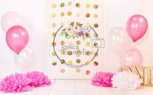 Load image into Gallery viewer, Katebackdrop£ºKate Cake Smash with Balloons Pink Birthday Backdrop Designed By Jessica Evangeline photography