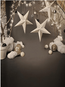Katebackdrop:5x7ft White Five-pointed Star Decoration Background for children Studio Backdrop