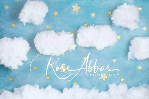 Katebackdrop£ºKate Blue Cotton Candy Cloud with Stars Backdrop Designed By Rose Abbas
