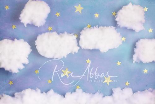 Katebackdrop£ºKate Lavender Cotton Candy Cloud with Stars Backdrop Designed By Rose Abbas