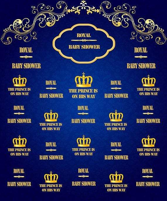 Katebackdrop£ºKate Royal Blue and Gold Prince Photography Backdrops Baby Shower Custom