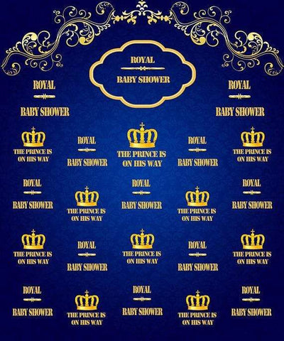 Katebackdrop:Kate Royal Blue and Gold Prince Photography Backdrops Baby Shower Custom