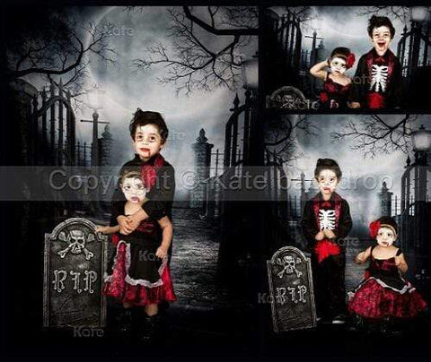 Katebackdrop:Kate Halloween fabric Backdrop for photography Haunted house