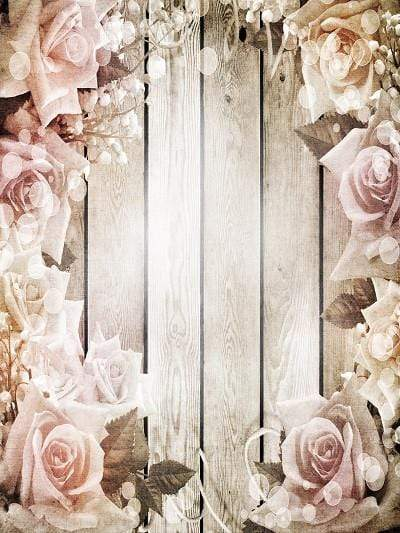 Kate Wooden Wall With Flowers Photography Backdrop - Katebackdrop