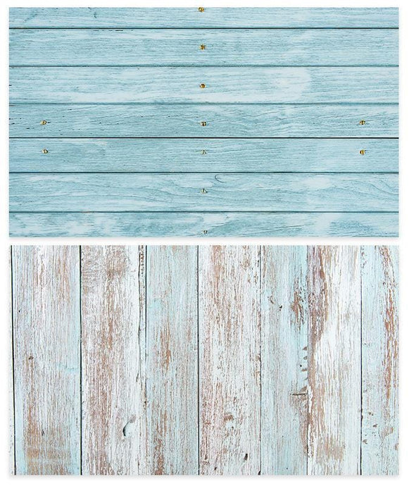 Kate 57x87cm Waterproof Double-Sided Paper Backdrop Blue Wood for Food Photography