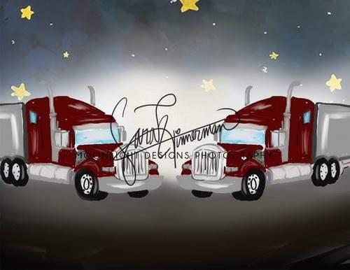 Katebackdrop:Kate Trucks in Midnight Children Backdrop Designed by Sarah Timmerman