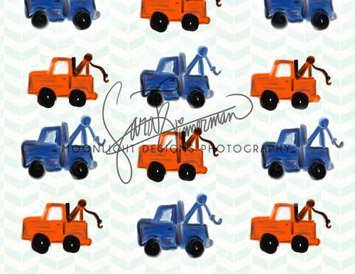 Katebackdrop:Kate Red and Blue Tow Trucks for Children Backdrop Designed by Sarah Timmerman