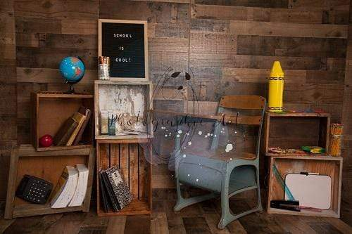 Kate Back to School  with Desk Wooden Backdrop for Photography Designed by Jenna Onyia