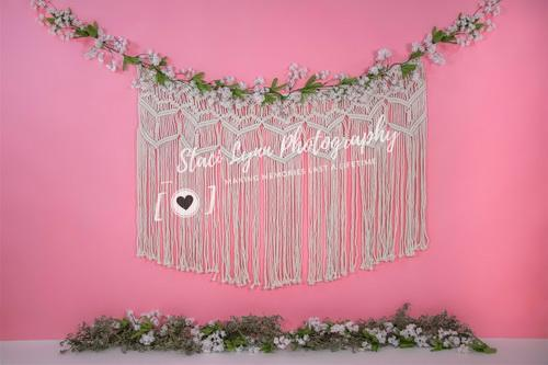 Katebackdrop:Kate Spring Pink Floral and Macramé Backdrop Designed By Stacilynnphotography