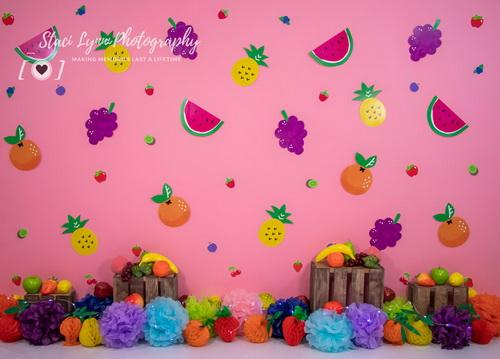 Katebackdrop:Kate Colorful Tutti Frutti Children Cake Smash Backdrop Designed By Stacilynnphotography