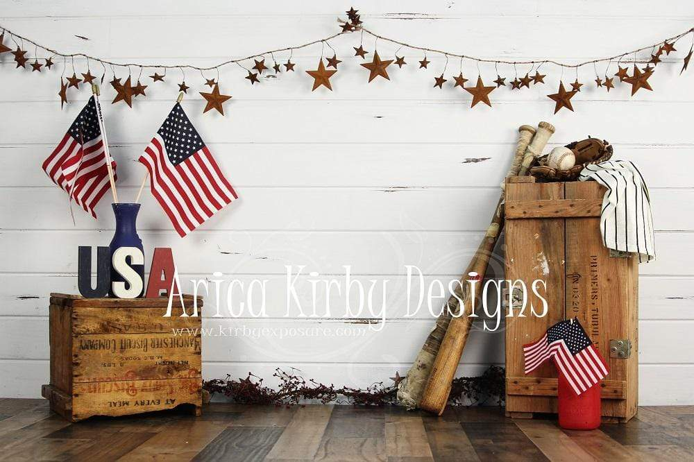 Load image into Gallery viewer, Kate Stars and Stripes Forever July of 4th Backdrop designed by Arica Kirby