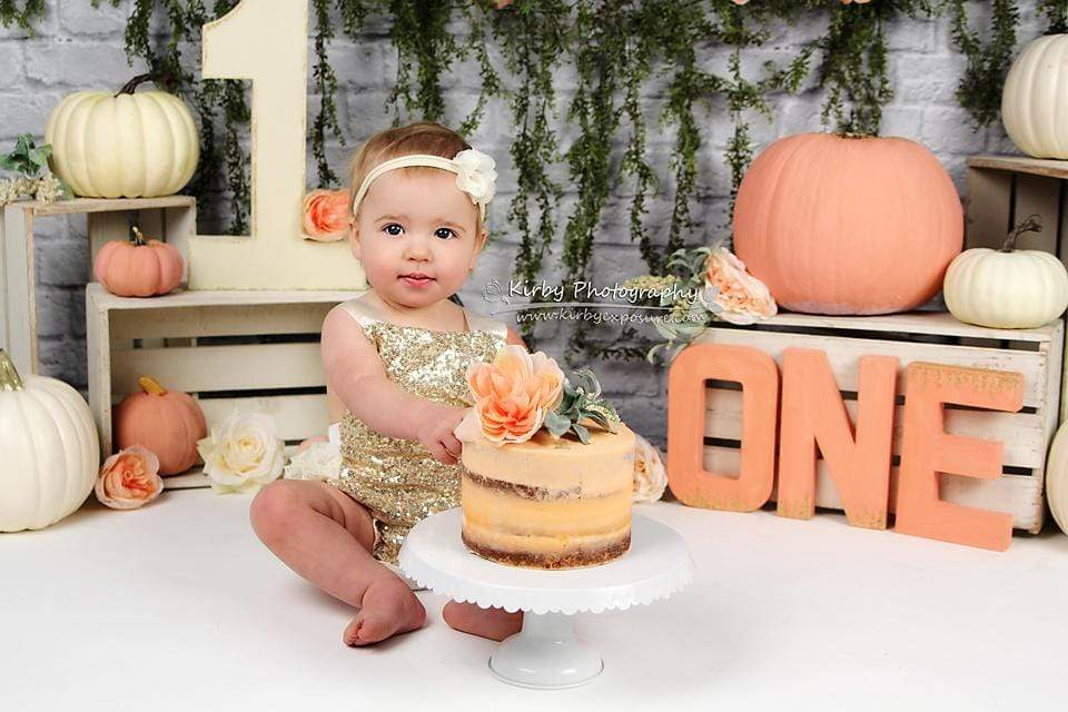Load image into Gallery viewer, Kate Autumn Sweet as Pumpkin Pie Birthday Backdrops Designed by Arica Kirby