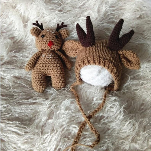 Studio Props Crochet Baby Outfit Christmas Raindeer Photo Props