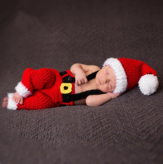 Studio Props Crochet Baby Outfit Christmas Santa Photo Props