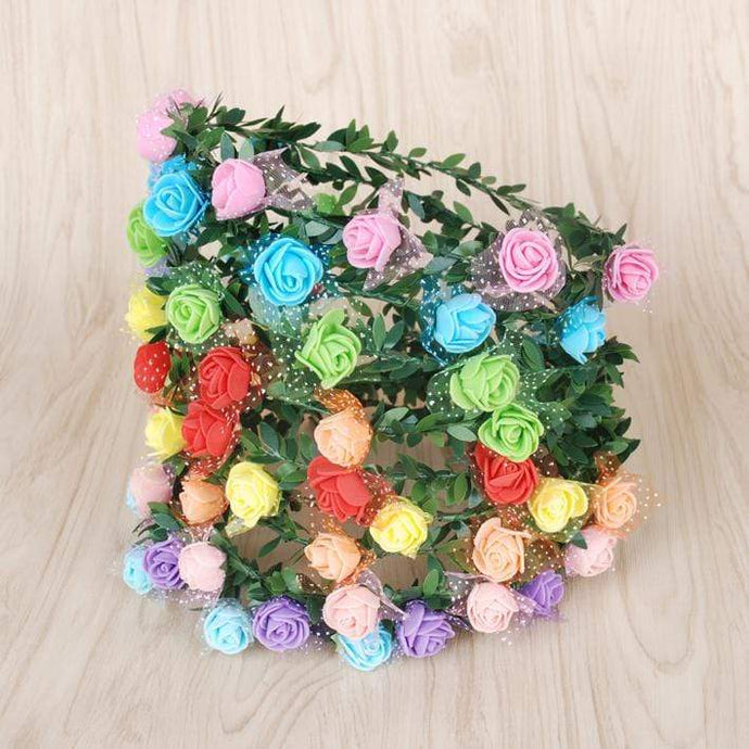 Katebackdrop£ºMonaural wreath headdress bride bridesmaid children wedding photography rosette holiday show seaside photo prop