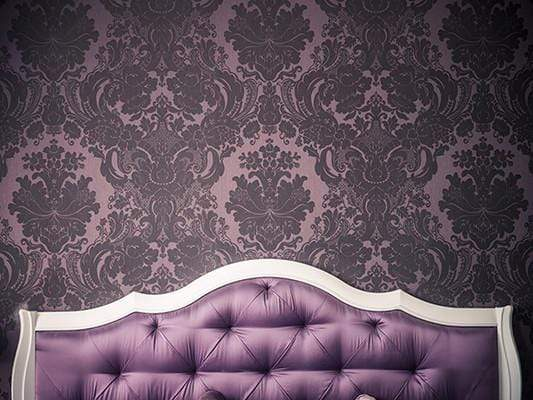 Katebackdrop:Kate White Purple Bed Tufted Headboard With Dark Pattern Printed Backdrop