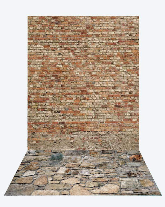 Katebackdrop¡êoKate Brick Wall backdrop + Brick Stone road Rubber Floor Mat