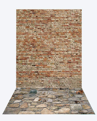 Kate Brick Wall backdrop + Brick Stone road Rubber Floor Mat
