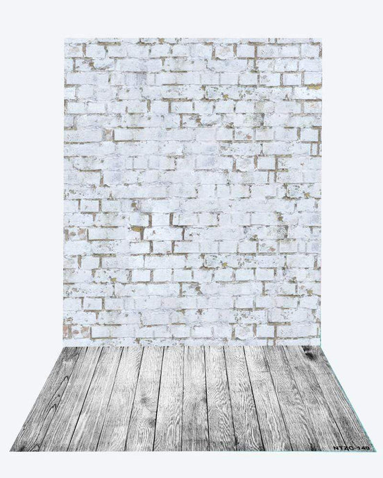 Katebackdrop¡êoKate Gray Brick backdrop + Gray wood floor mat