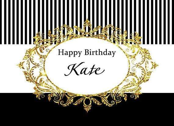 Katebackdrop£ºKate White and Black Stripe Gold Photography Backdrops for Birthday Party