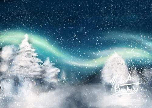 Katebackdrop:Kate Winter Christmas Aurora Backdrop for Photography Designed by Modest Brushes