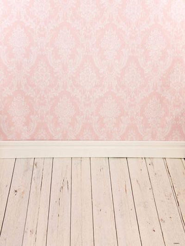 Katebackdrop:Kate Children Pink Wall Pattern Backdrops Photography White/Cream Wood Flooring