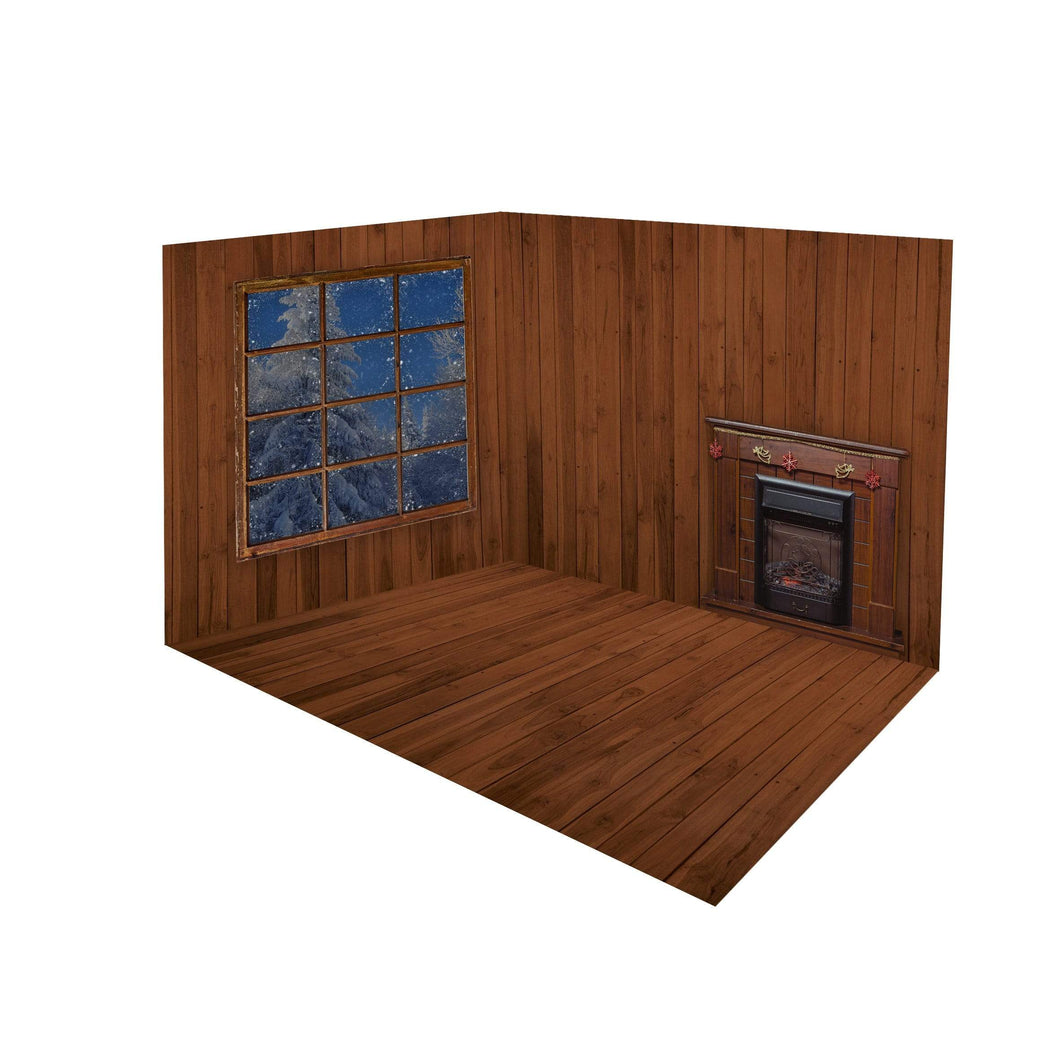 Katebackdrop£ºKate Christmas Dark wood Fireplace Window room set