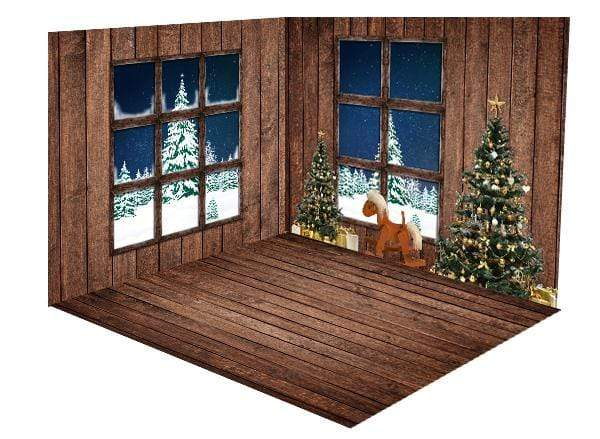 Katebackdrop:Kate Christmas Tree Dark Brown Wooden Floor Window room set