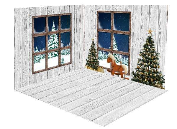 Katebackdrop:Kate Christmas Trees White Wooden Floor Window room set