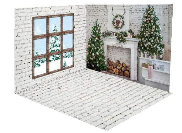Katebackdrop£ºKate Christmas Fireplace White Brick Wall and Floor Window room set