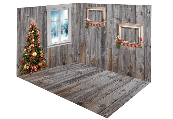 Katebackdrop:Kate Christmas Tree Window room set