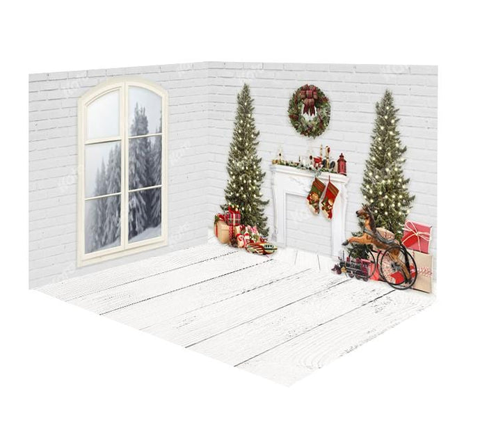 Kate Christmas Fireplace White Brick Wall&Floor Window Room Set