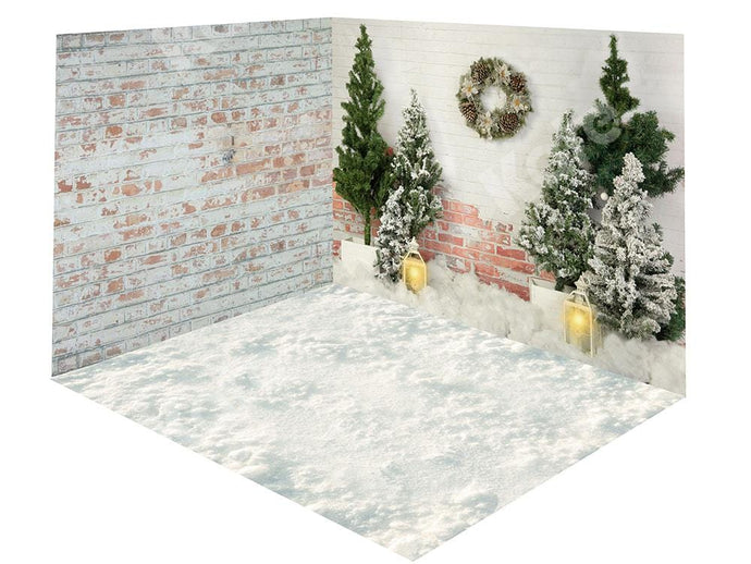 Kate Christmas Trees Brick Wall Snow Backdrop Room Set