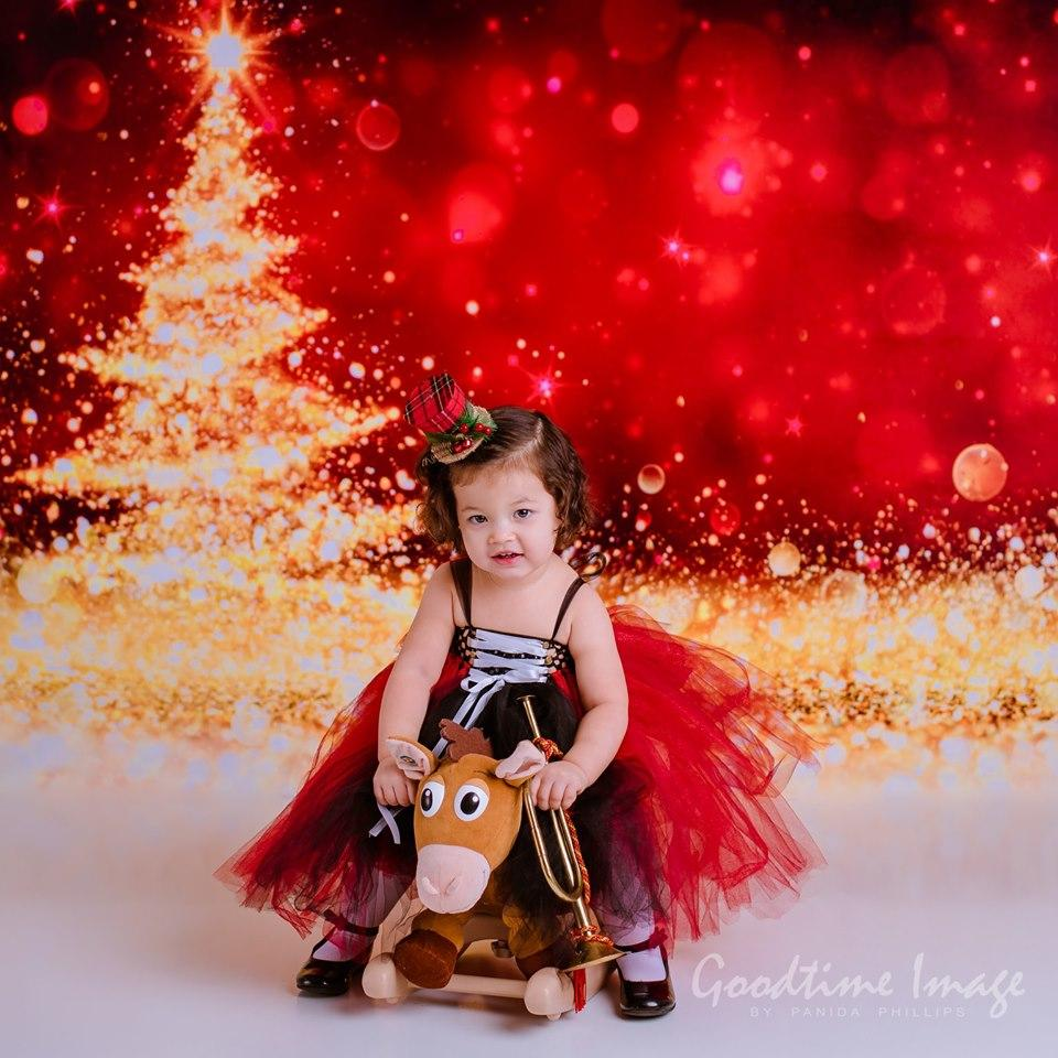 Load image into Gallery viewer, Katebackdrop:Kate Christmas Festival Party Photography Red Backdrop Golden Glittering Tree