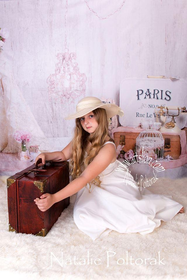 Katebackdrop:Kate Vintage Vibes Flower Paris Backdrop for Photography Designed by Erin Larkins