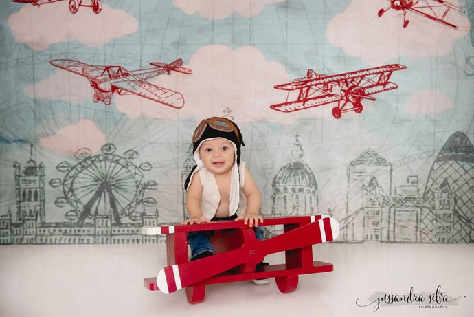 Kate Vintage Biplanes over City Children Backdrop for Photography Designed by Amanda Moffatt