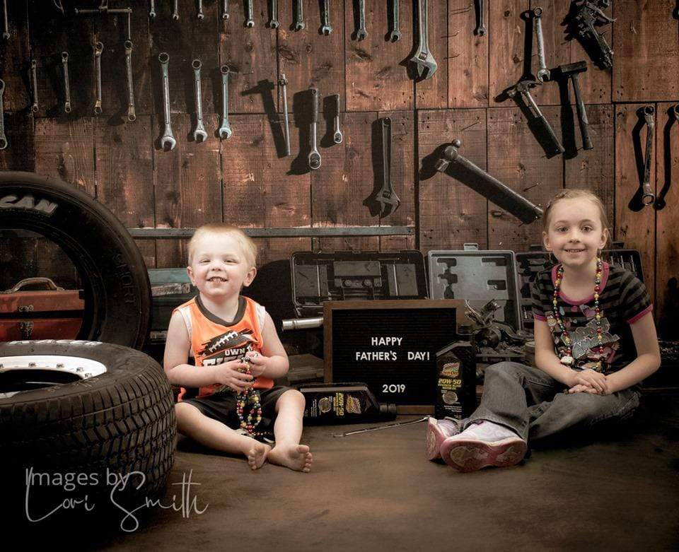 Katebackdrop£ºKate Tool shelf against a table vintage garage backdrop for boy/Father's Day