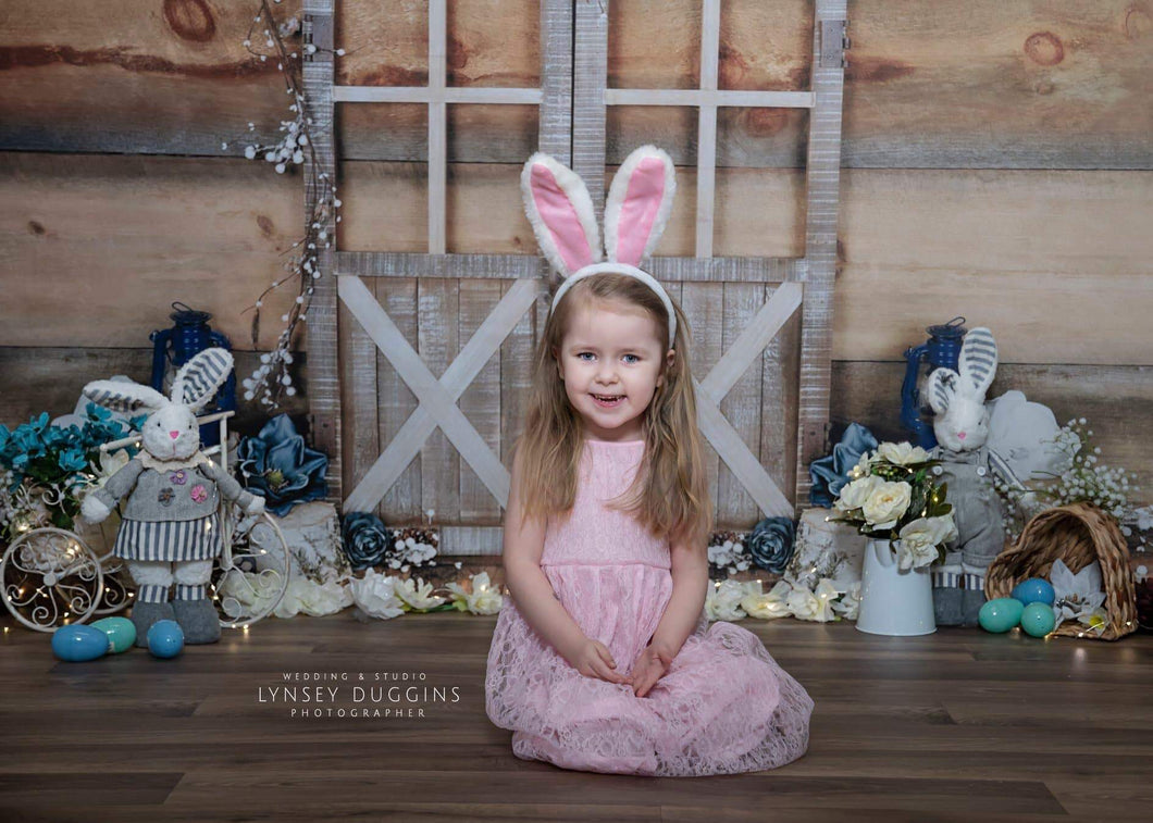 Katebackdrop:Kate Blue Floral Doors Wood Spring\Easter Backdrop Designed By Arica Kirby