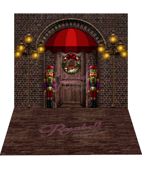 Kate 8x8ft Christmas Door Backdrop + 8x5ft Brick Rubber Floor Mat Designed by Rosabell Photography