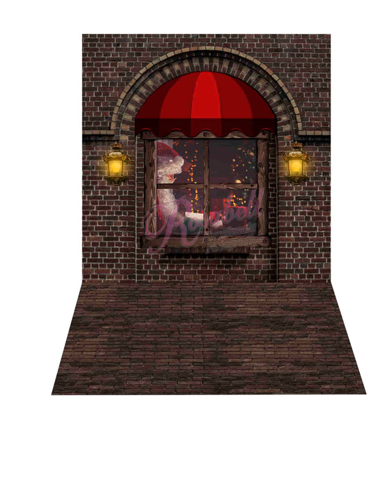 Kate 8x8ft Christmas Window Backdrop + 8x5ft Brick Rubber Floor Mat Designed by Rosabell Photography