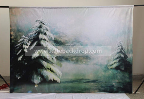 Katebackdrop:Kate Hand Painting Frozen Pine trees Backdrop Forest Children