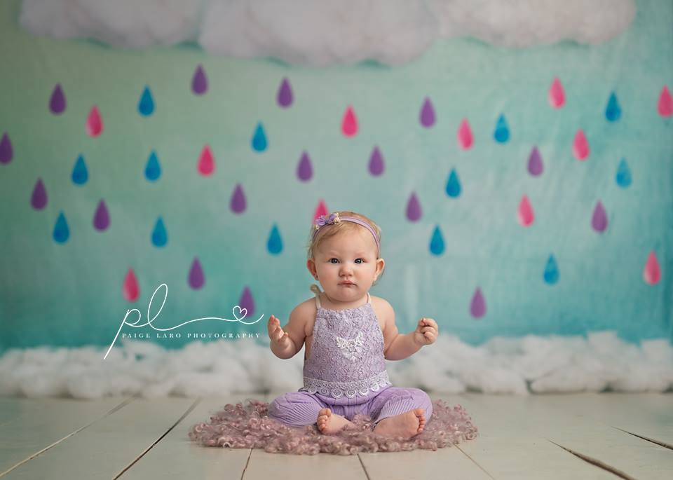 Katebackdrop£ºKate Clouds And Colored Rain Baby Shower Backdrop for Photography designed by Jerry_Sina