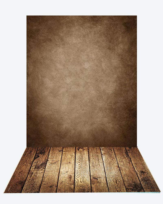 Katebackdrop¡êoKate Old Master Brown Backdrop + Dark Wood Rubber Floor Mat