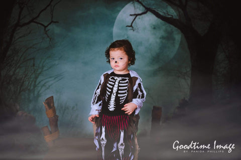Kate Photography Fantastic Halloween Backdrops Forest Night Moon