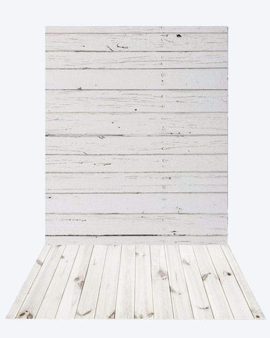 Katebackdrop:Kate retro milk wood background + White floor mat