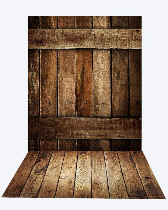Katebackdrop¡êoKate dark barn wood wall + Dark brown floor mat